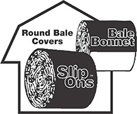 Slip on bale bonnet covers logo